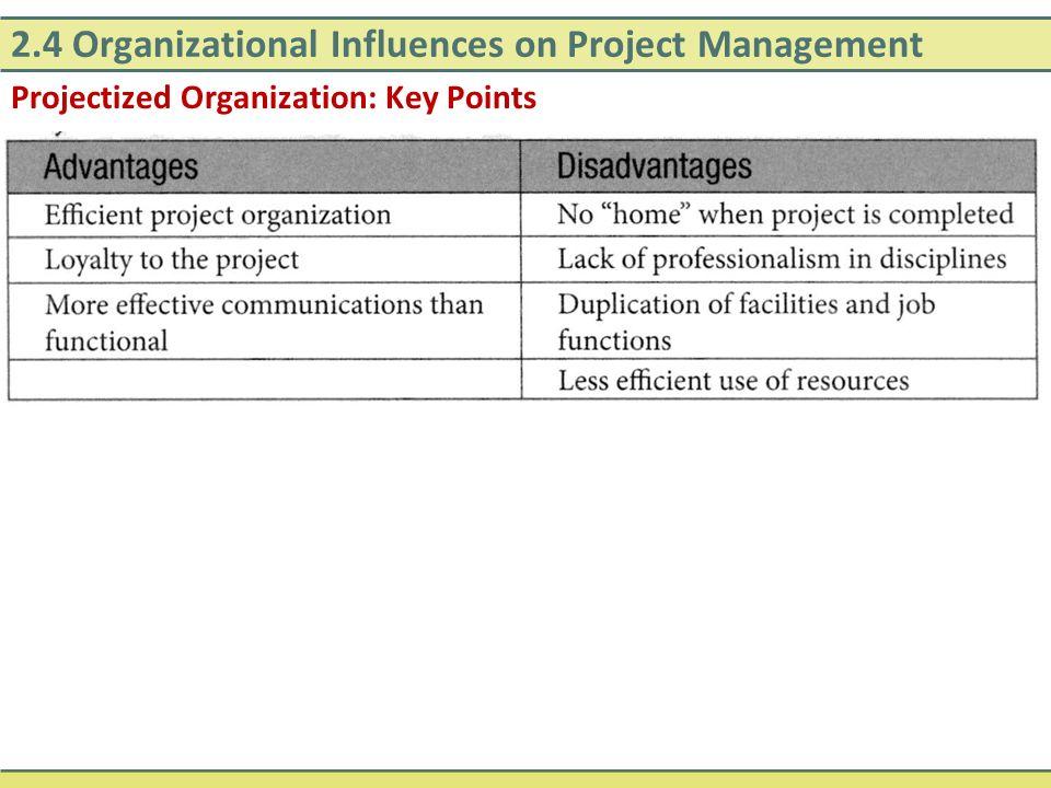 2.4 Organizational Influences on Project Management Projectized Organization: Key Points
