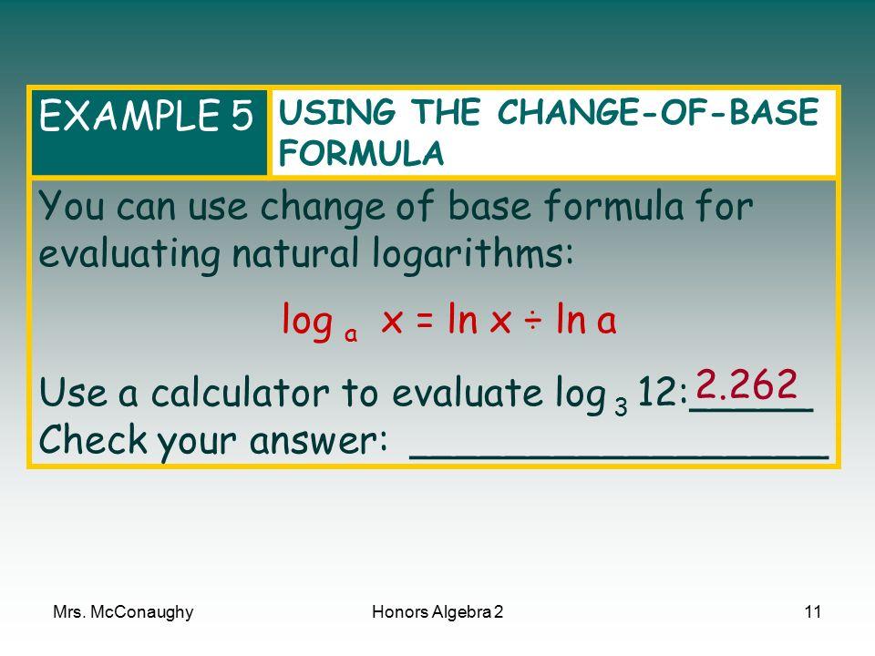 Algebra 2 using logarithms worksheet