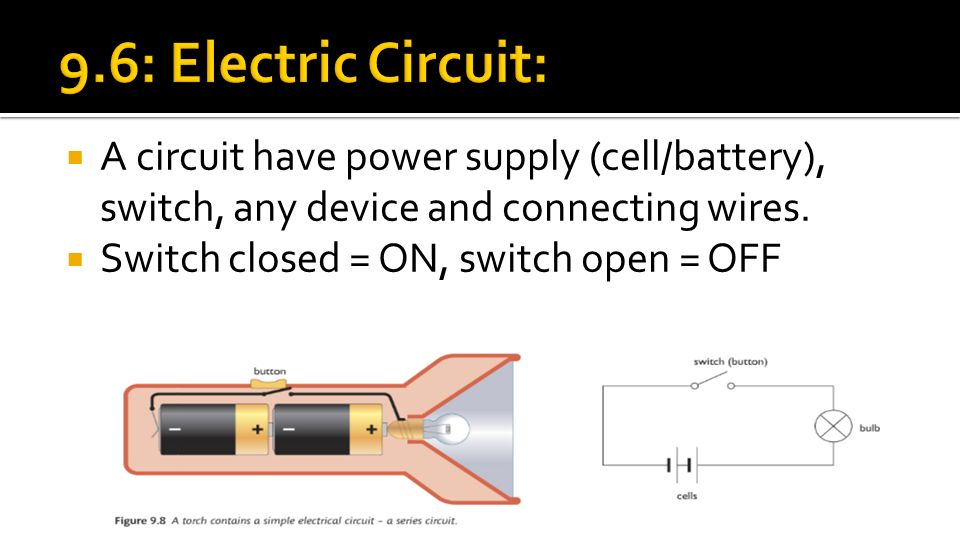  A circuit have power supply (cell/battery), switch, any device and connecting wires.