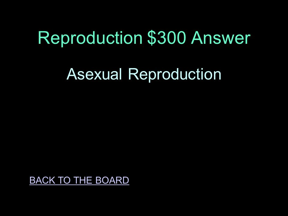 Reproduction $300 Question This type of reproduction is involves cell division and produces offspring that is identical to the parents.