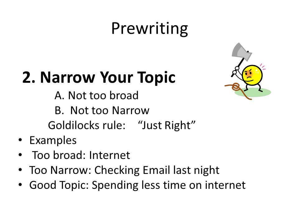 Prewriting 2. Narrow Your Topic A. Not too broad B.