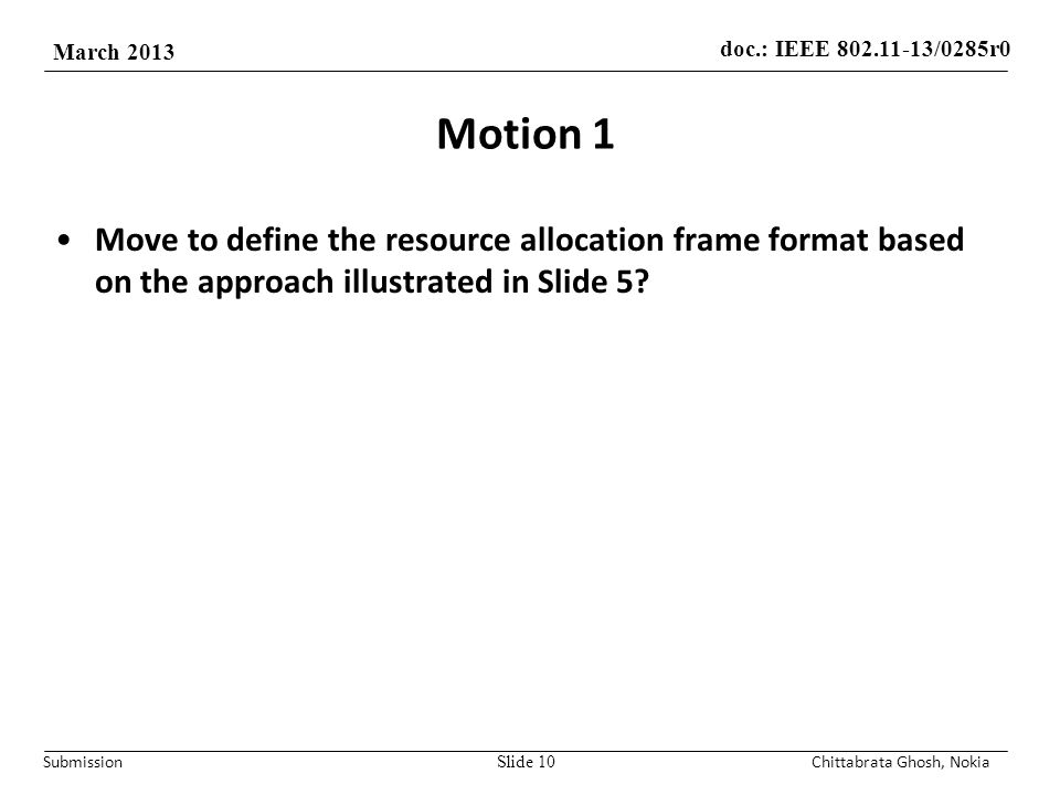doc.: IEEE /0285r0 March 2013 Submission Motion 1 Move to define the resource allocation frame format based on the approach illustrated in Slide 5.
