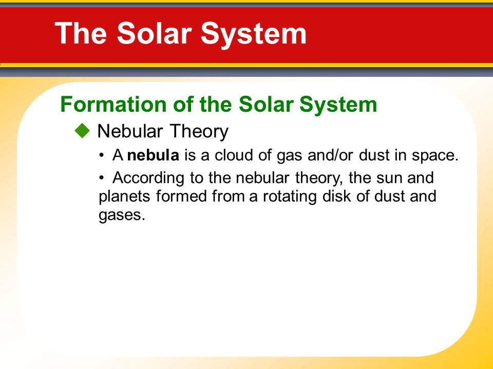 Touring Our Solar System. The Nebular Theory Our solar system ...