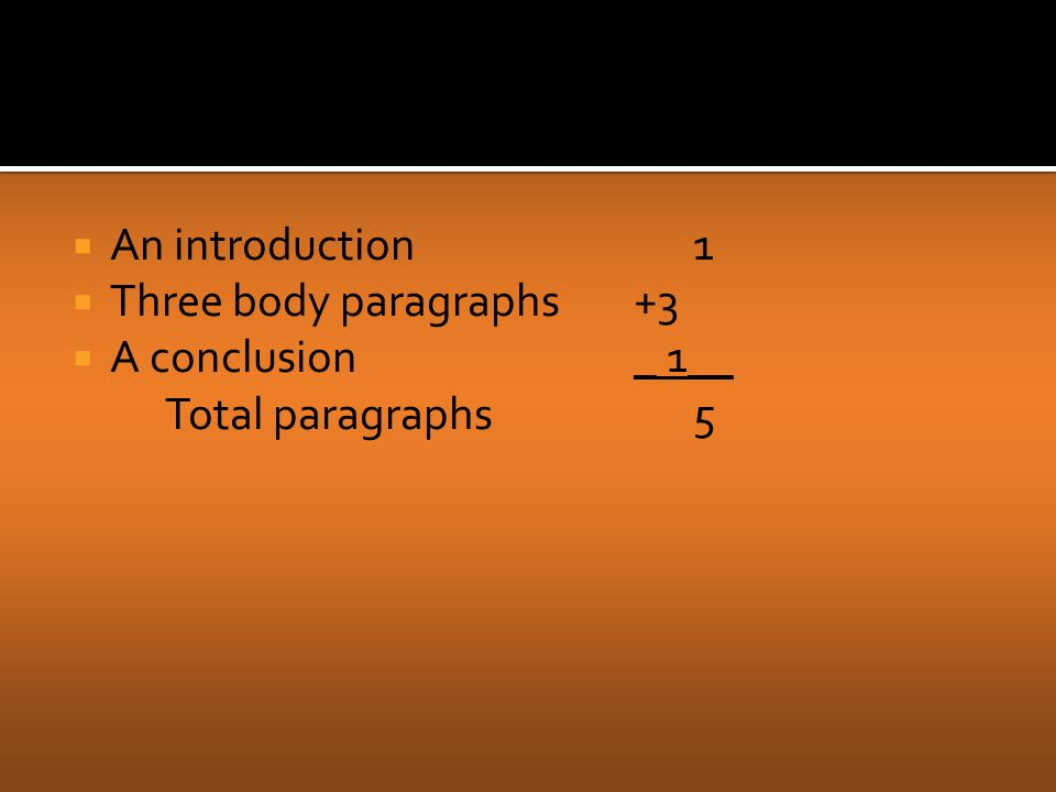  An introduction1  Three body paragraphs +3  A conclusion _ 1__ Total paragraphs5