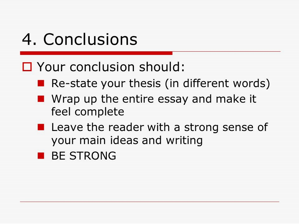 Essay wrap up words