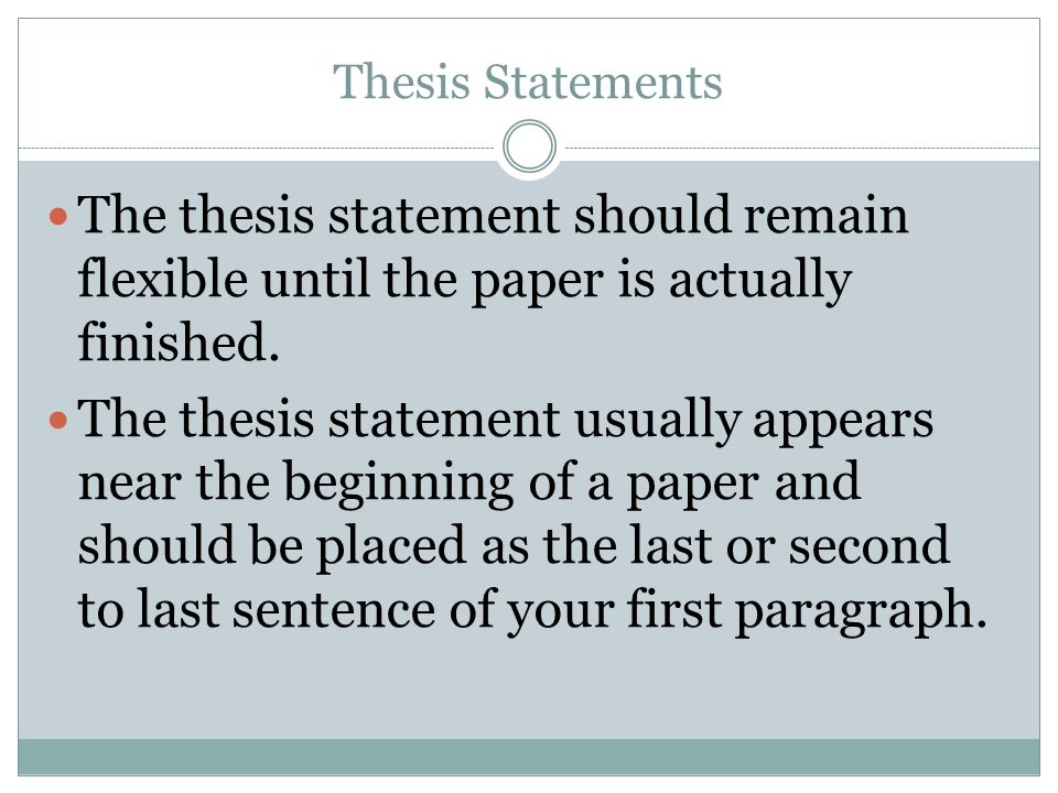 where should thesis statement be