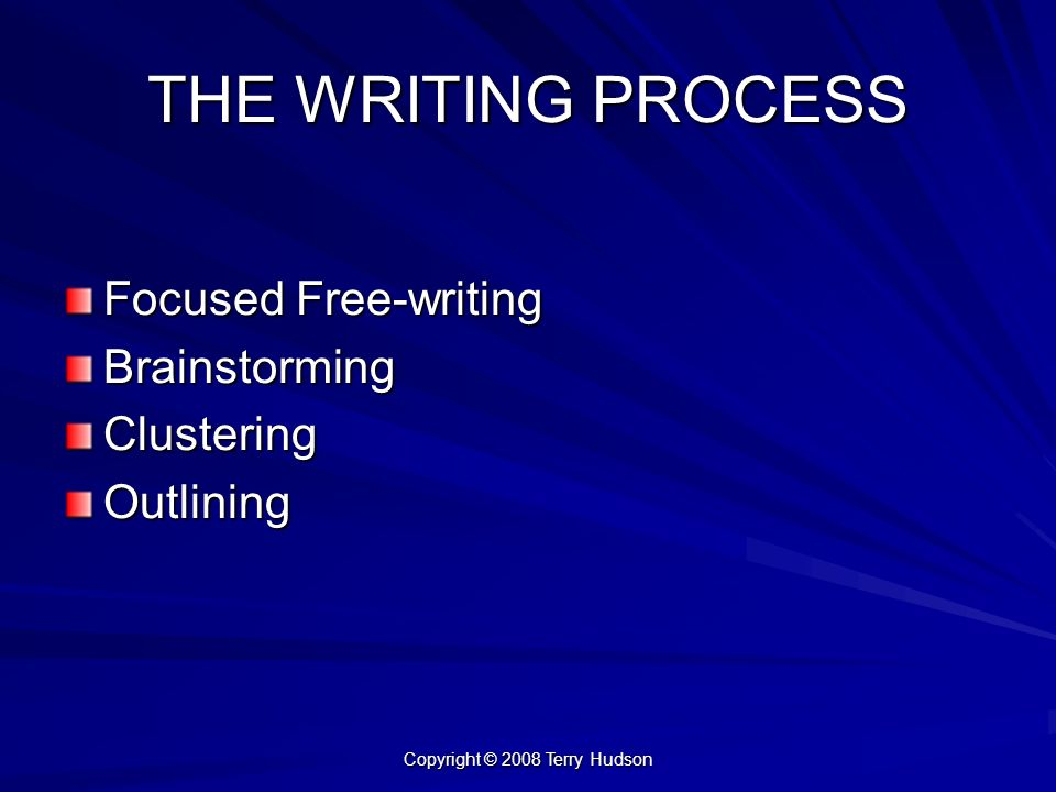 Copyright © 2008 Terry Hudson THE WRITING PROCESS Focused Free-writing BrainstormingClusteringOutlining