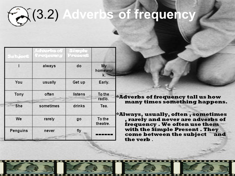 (3.2) Adverbs of frequency *Adverbs of frequency tall us how many times something happens.