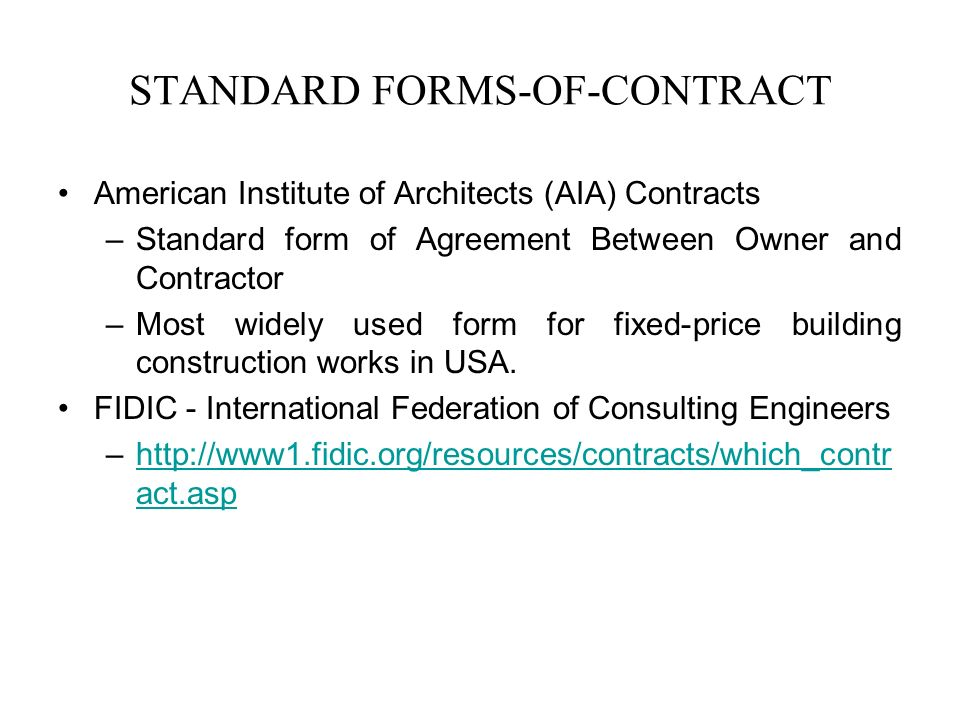 Standard Form Of Agreement Between Owner And Contractor Gallery