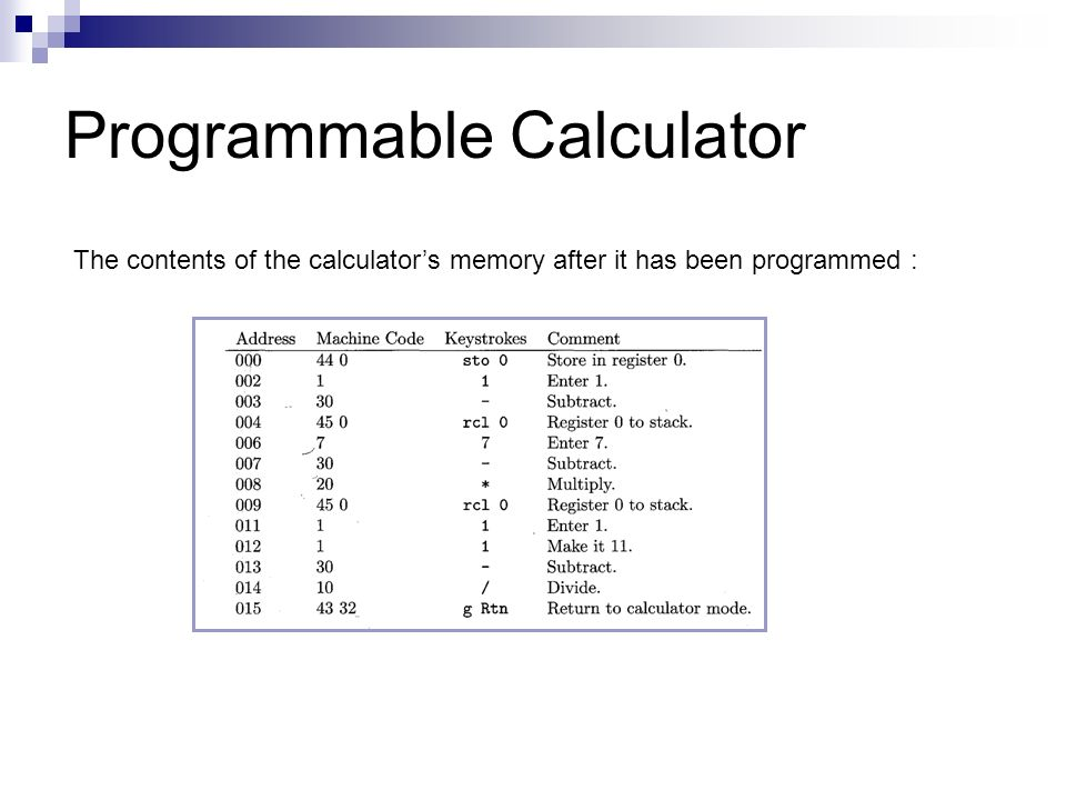 Programmable Calculator The contents of the calculator's memory after it has been programmed :