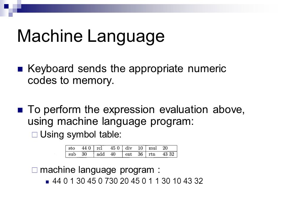 Machine Language Keyboard sends the appropriate numeric codes to memory.