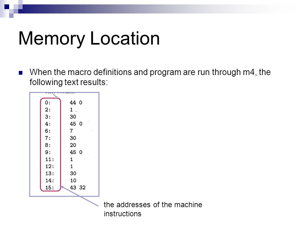 Memory Location When the macro definitions and program are run through m4, the following text results: the addresses of the machine instructions