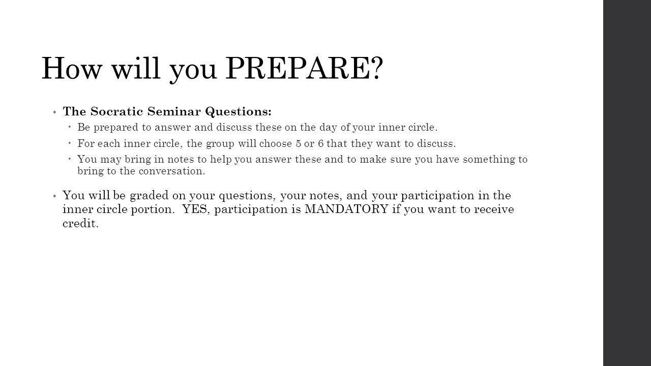 How will you PREPARE.