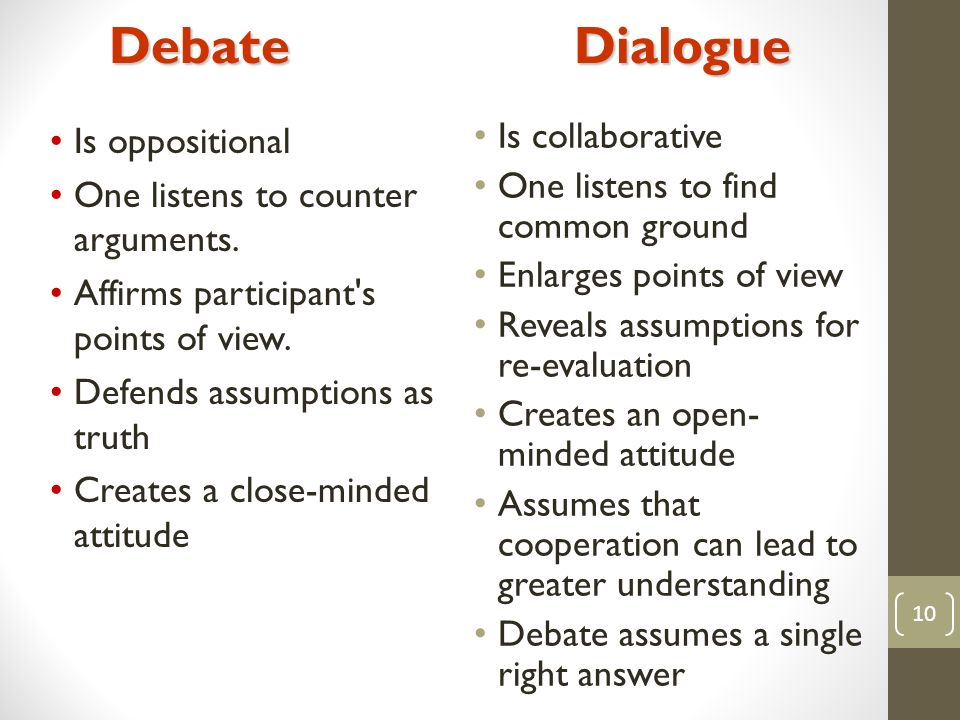10 Is collaborative One listens to find common ground Enlarges points of view Reveals assumptions for re-evaluation Creates an open- minded attitude Assumes that cooperation can lead to greater understanding Debate assumes a single right answer Is oppositional One listens to counter arguments.