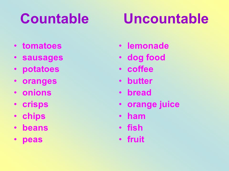 Countable Uncountable tomatoes sausages potatoes oranges onions crisps chips beans peas lemonade dog food coffee butter bread orange juice ham fish fruit