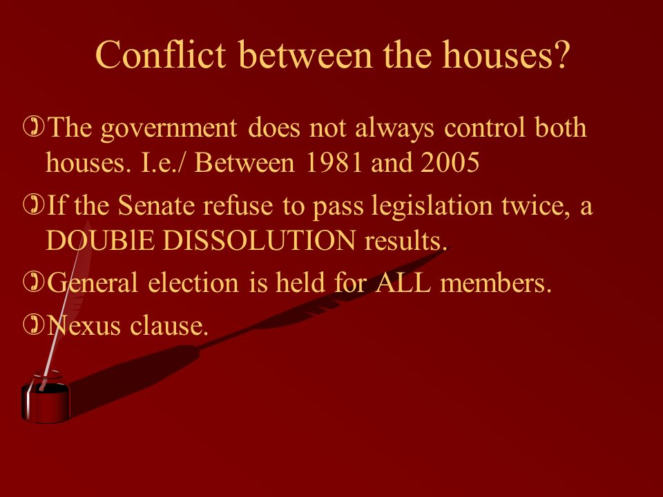 Conflict between the houses. )The government does not always control both houses.