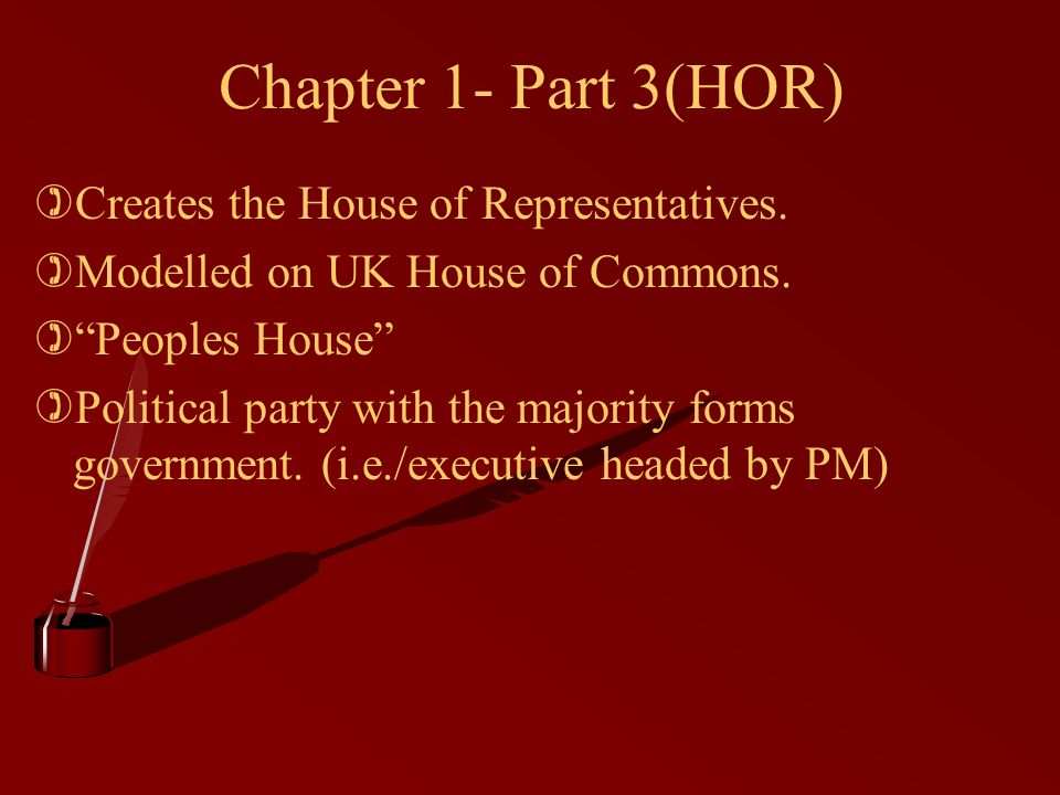 Chapter 1- Part 3(HOR) )Creates the House of Representatives.