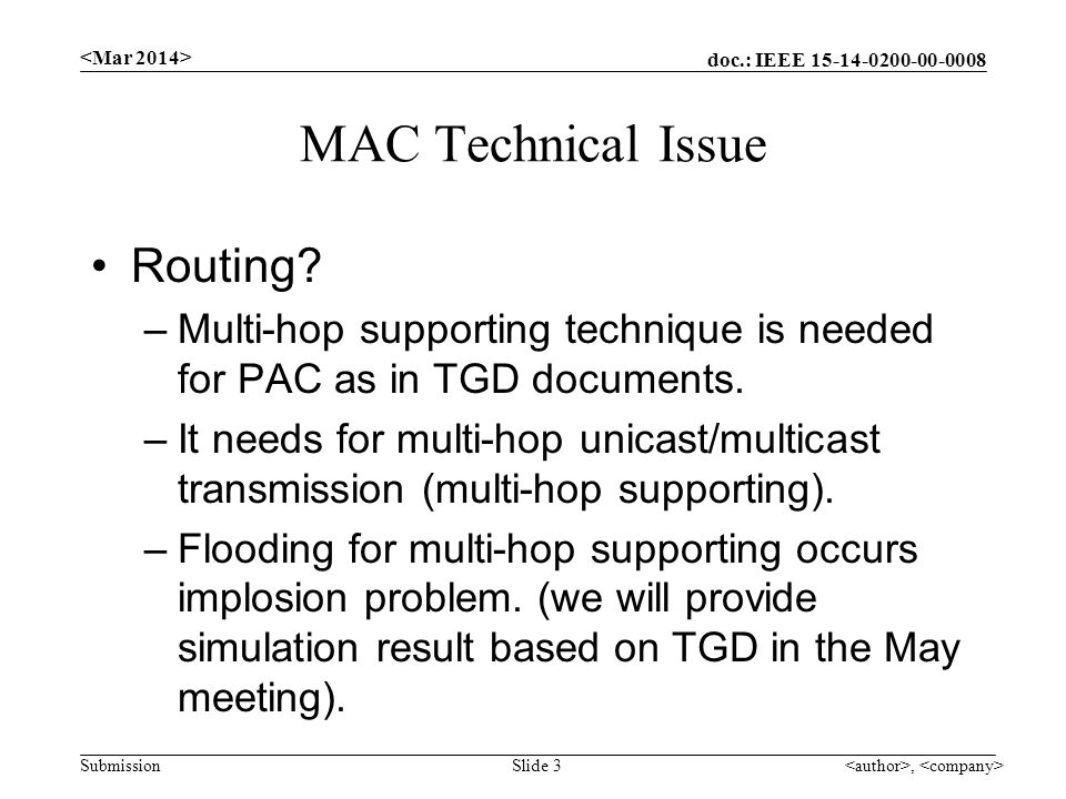 doc.: IEEE Submission MAC Technical Issue Routing.