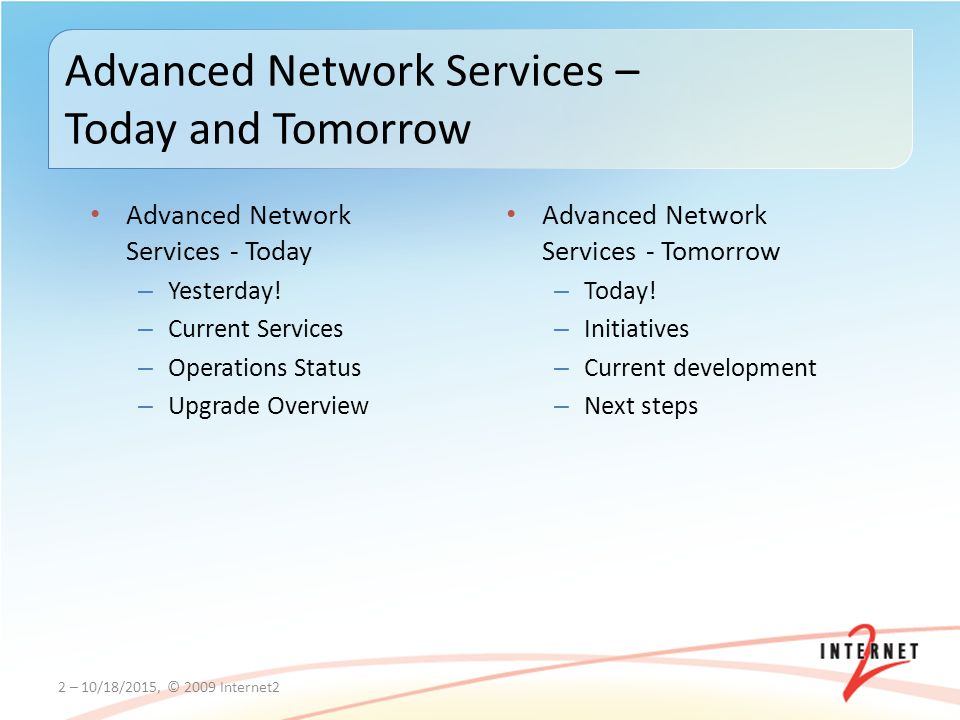 Advanced Network Services - Today – Yesterday.