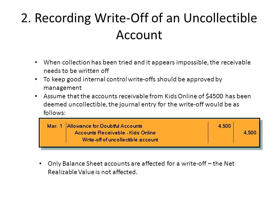 why the cash realizable value does not decrease when an uncollectible account is written off under t Jerry gatewood should realize that the decrease in cash realizable value occurs when estimated uncollectibles are recognized in an adjusting entry the write-off of an uncollectible account reduces both accounts receivable and the allowance for doubtful accounts by the same amount thus, cash realizable value does not change 6.