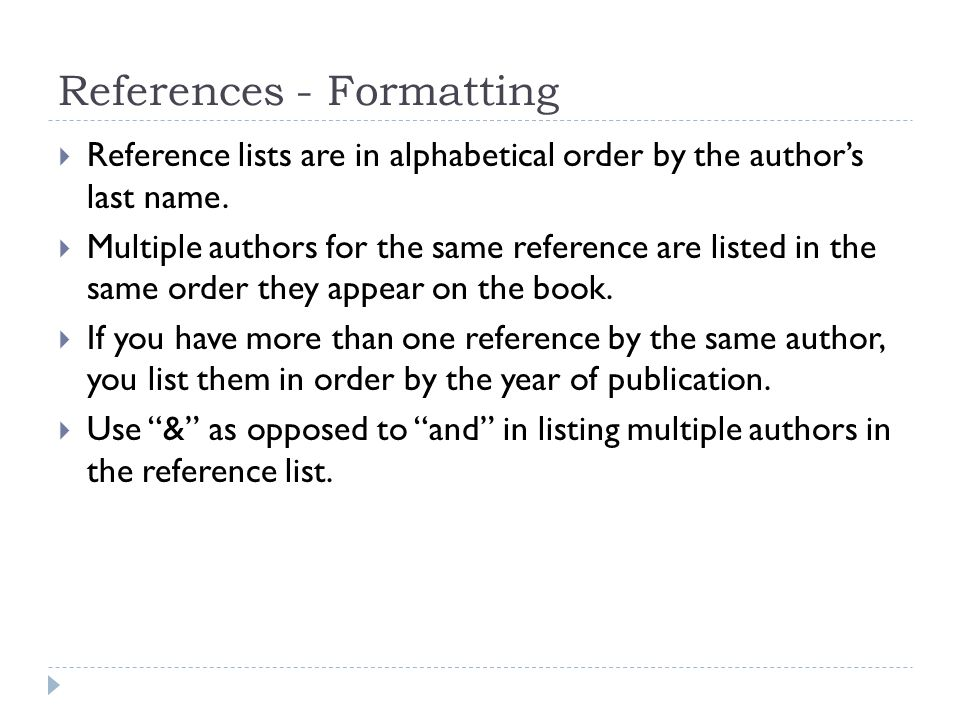 formatting a reference list