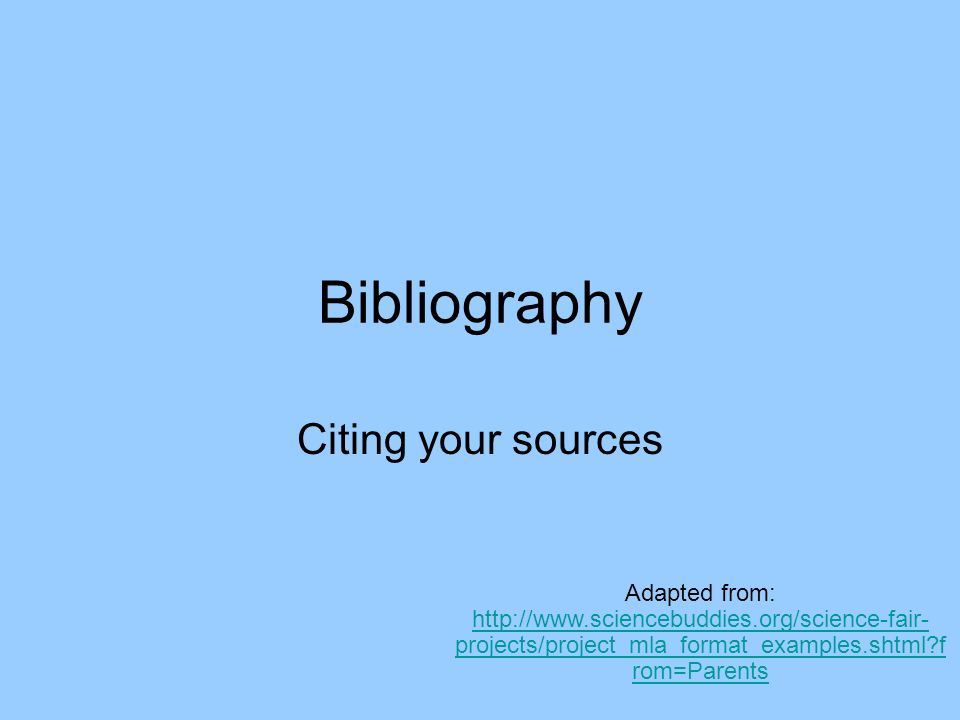 Science buddies bibliography
