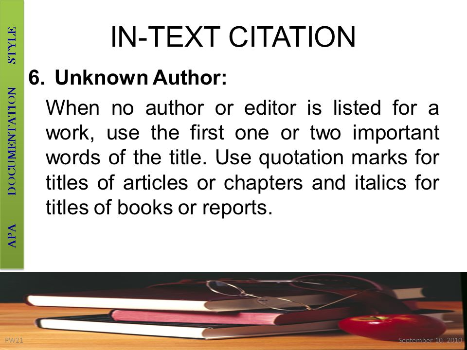 in text citation book report