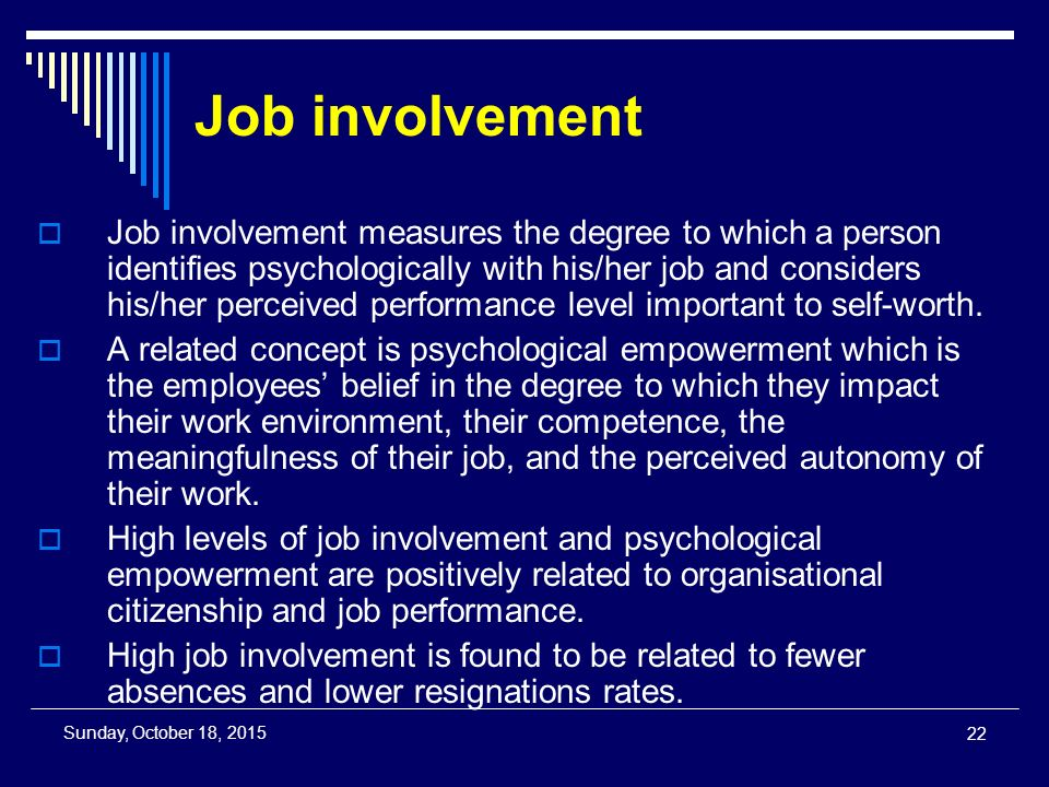 Job involvement  Job involvement measures the degree to which a person identifies psychologically with his/her job and considers his/her perceived performance level important to self-worth.