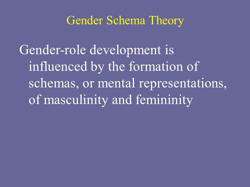 Gender Schema Theory Gender-role development is influenced by the formation of schemas, or mental representations, of masculinity and femininity