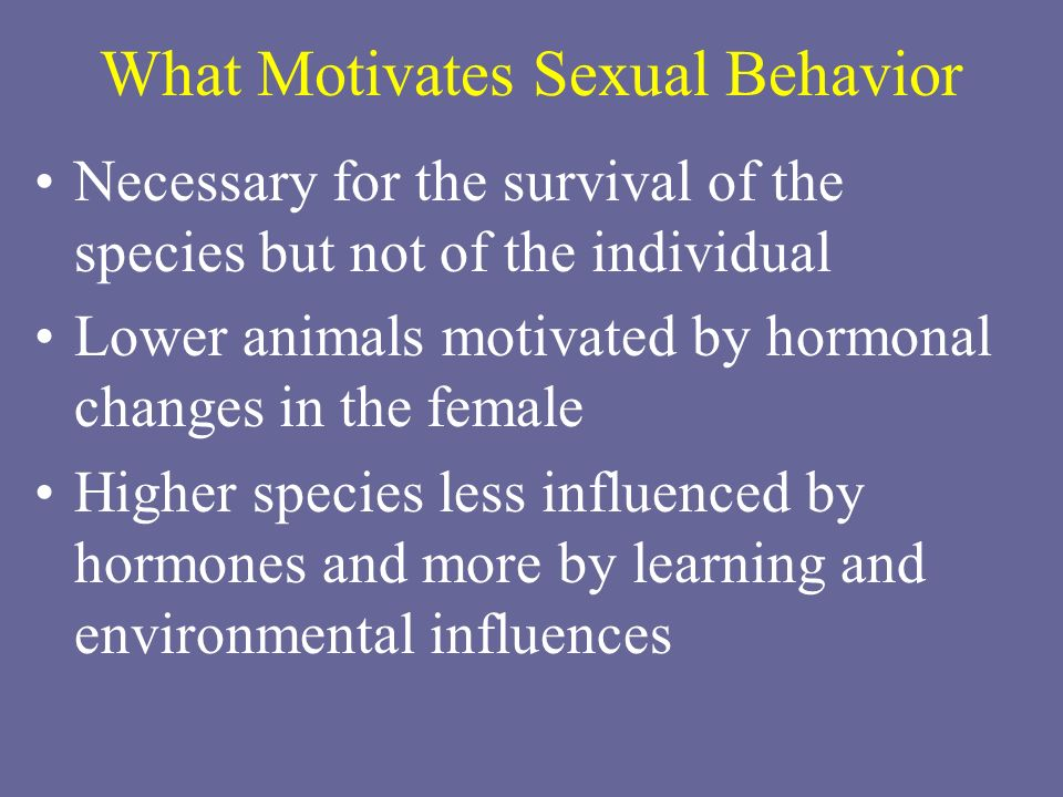 What Motivates Sexual Behavior Necessary for the survival of the species but not of the individual Lower animals motivated by hormonal changes in the