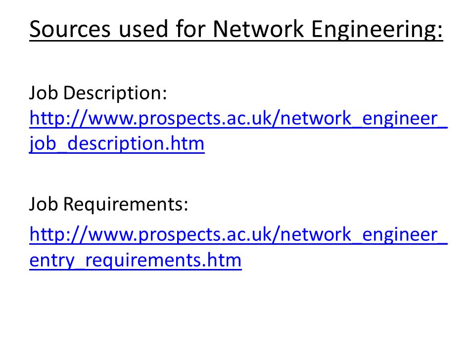 Investigating Job Roles In It Alex Haslam. Network Engineering