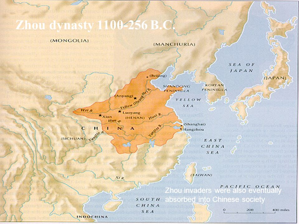 Zhou dynasty B.C. Zhou invaders were also eventually absorbed into Chinese society