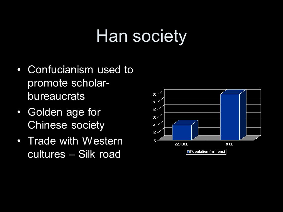 Han society Confucianism used to promote scholar- bureaucrats Golden age for Chinese society Trade with Western cultures – Silk road