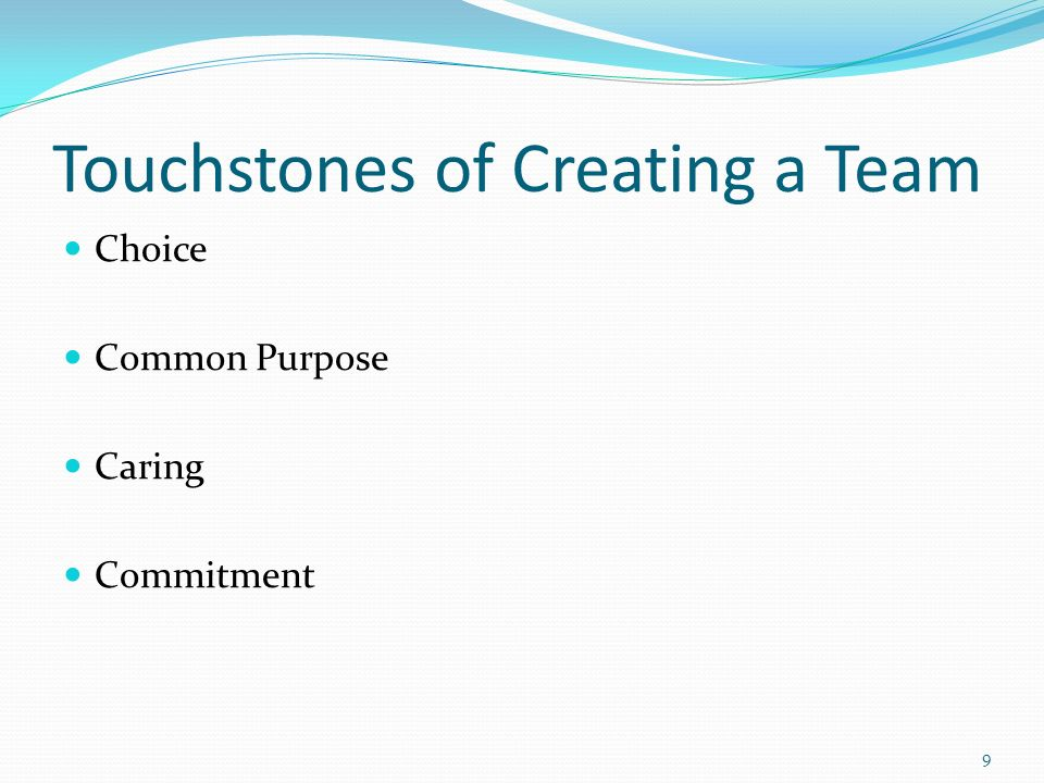 Touchstones of Working as a Team I + you = We Who are We.