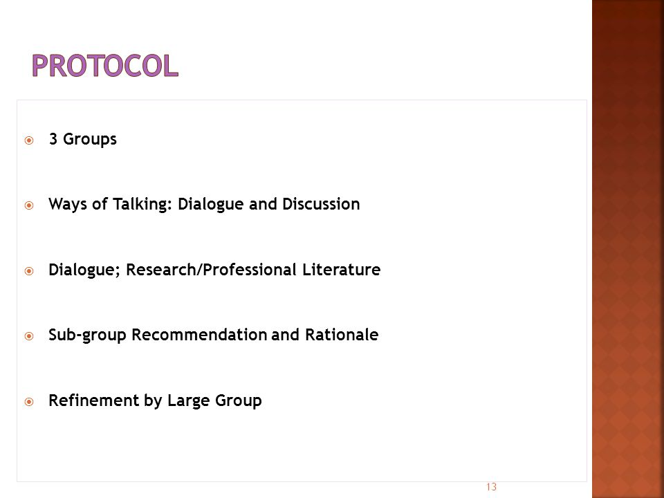  3 Groups  Ways of Talking: Dialogue and Discussion  Dialogue; Research/Professional Literature  Sub-group Recommendation and Rationale  Refinement by Large Group 13