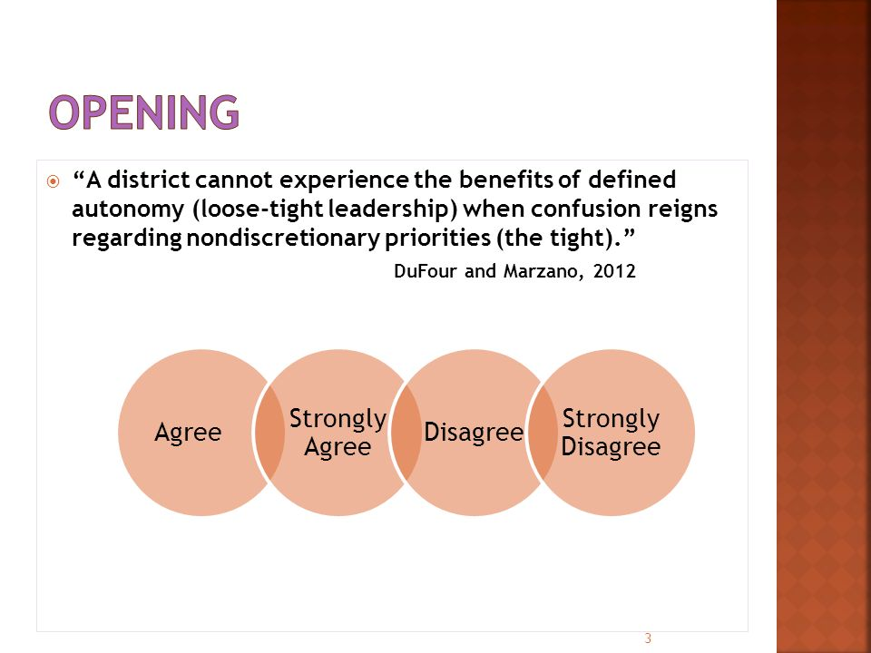  A district cannot experience the benefits of defined autonomy (loose-tight leadership) when confusion reigns regarding nondiscretionary priorities (the tight). DuFour and Marzano, 2012 3 Agree Strongly Agree Disagree Strongly Disagree