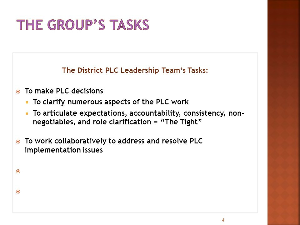 The District PLC Leadership Team's Tasks:  To make PLC decisions  To clarify numerous aspects of the PLC work  To articulate expectations, accounta