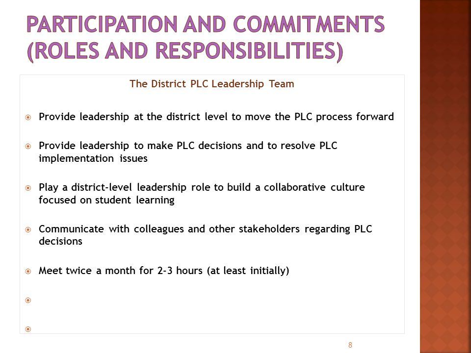 The District PLC Leadership Team  Provide leadership at the district level to move the PLC process forward  Provide leadership to make PLC decisions