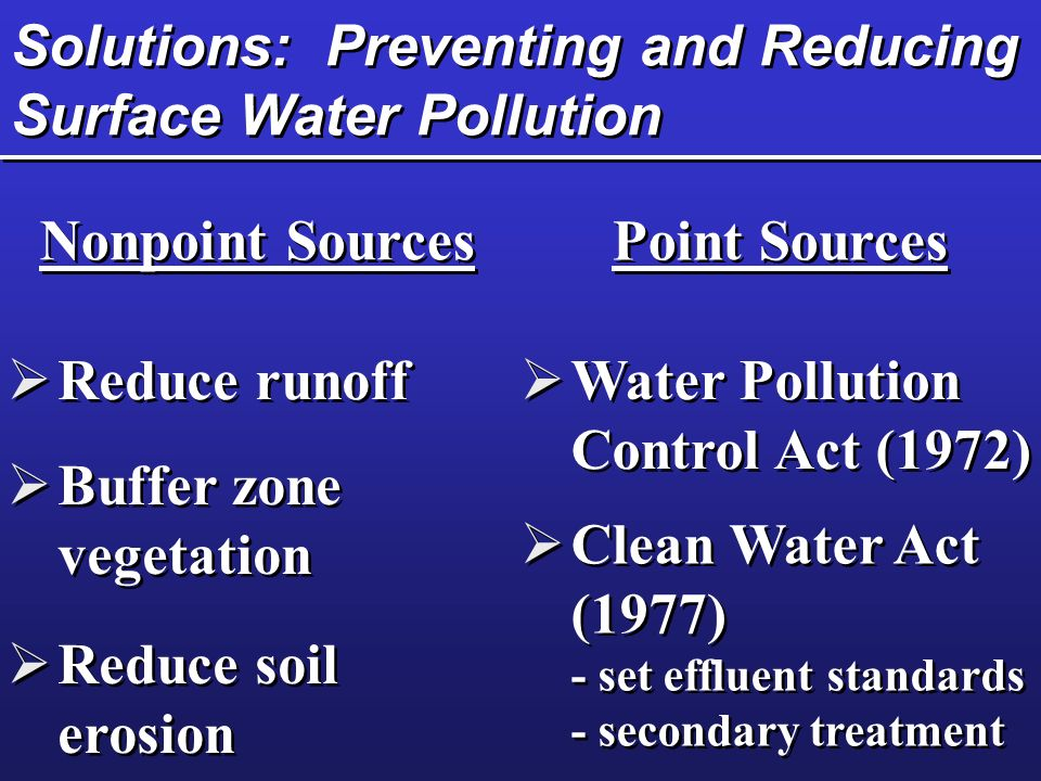 Solutions: Preventing and Reducing Surface Water Pollution Nonpoint Sources Point Sources  Reduce runoff  Buffer zone vegetation  Reduce soil erosion  Reduce soil erosion  Water Pollution Control Act (1972)  Water Pollution Control Act (1972)  Clean Water Act (1977) - set effluent standards - secondary treatment  Clean Water Act (1977) - set effluent standards - secondary treatment