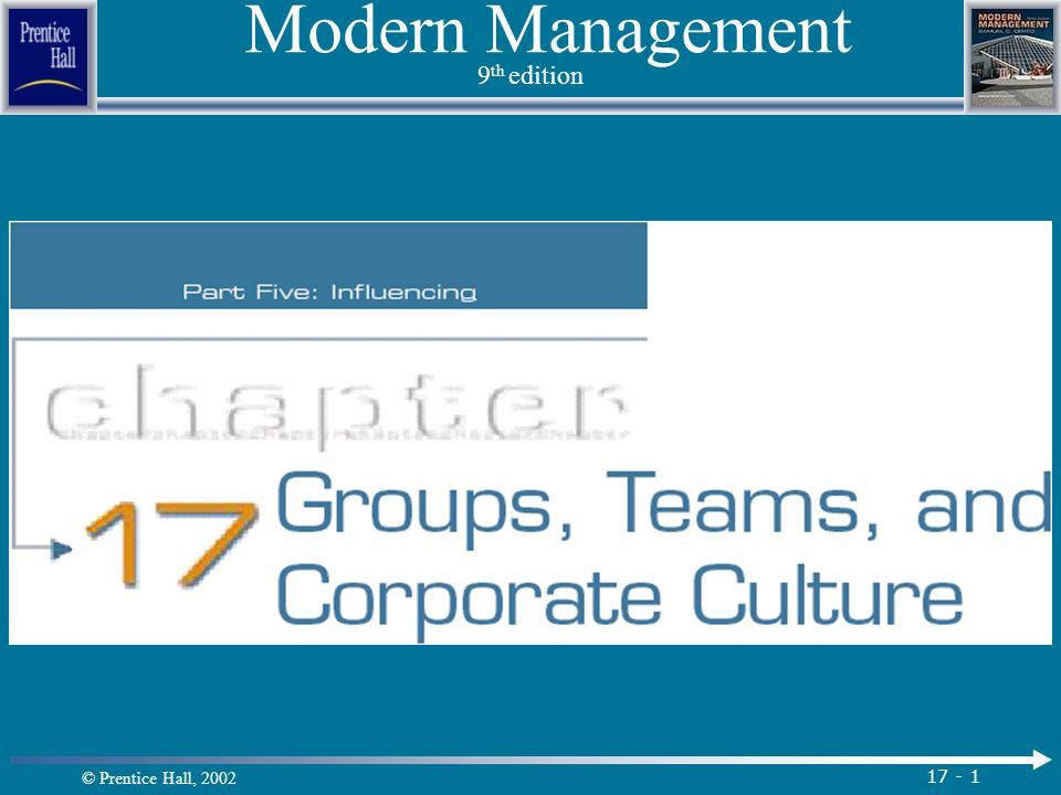 © Prentice Hall, 2002 17 - 1 Modern Management 9 th edition.