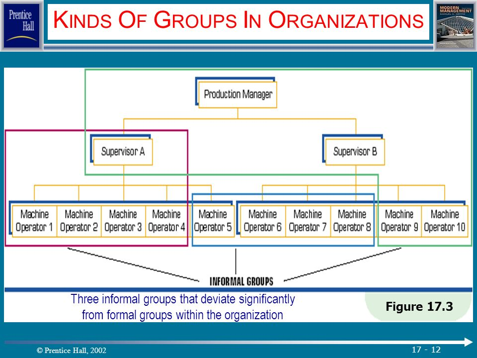 © Prentice Hall, 2002 17 - 12 K INDS O F G ROUPS I N O RGANIZATIONS Figure 17.3 Three informal groups that deviate significantly from formal groups within the organization.