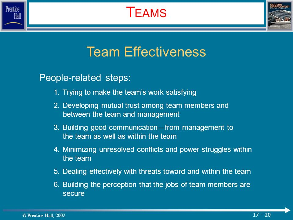 © Prentice Hall, 2002 17 - 20 T EAMS Team Effectiveness People-related steps: 1.Trying to make the team's work satisfying 2.Developing mutual trust among team members and between the team and management 3.Building good communication—from management to the team as well as within the team 4.Minimizing unresolved conflicts and power struggles within the team 5.Dealing effectively with threats toward and within the team 6.Building the perception that the jobs of team members are secure.