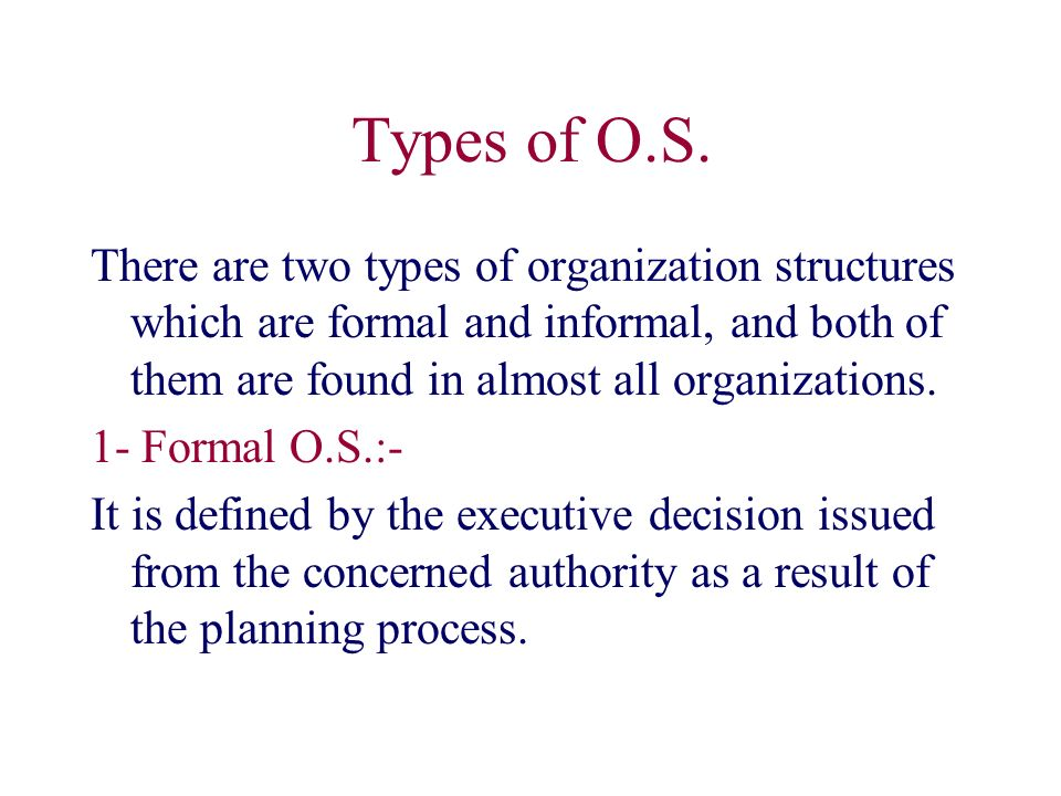 Types of O.S.