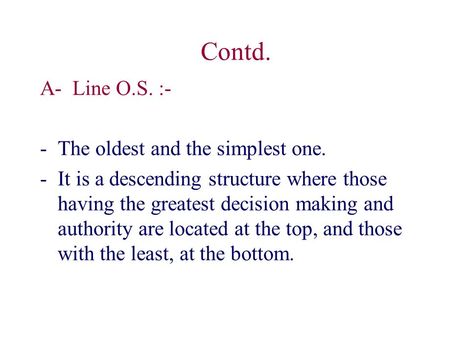 Contd. A- Line O.S. :- -The oldest and the simplest one.