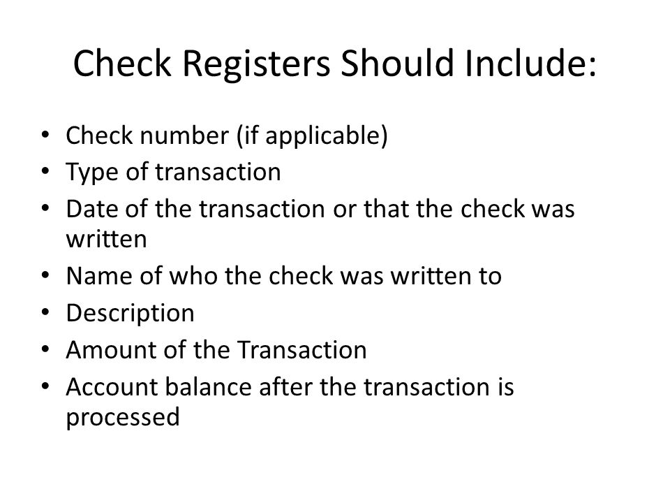 Balancing A Check Register Check Register A Personal Record Of