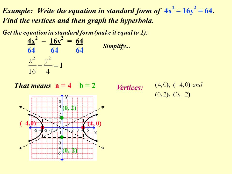 Example: Write the equation in standard form of 4x 2 – 16y 2 = 64.