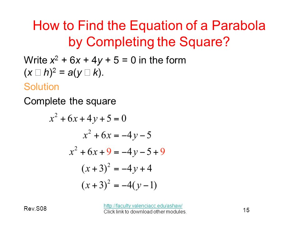 15 Rev.S08 How to Find the Equation of a Parabola by Completing the Square.