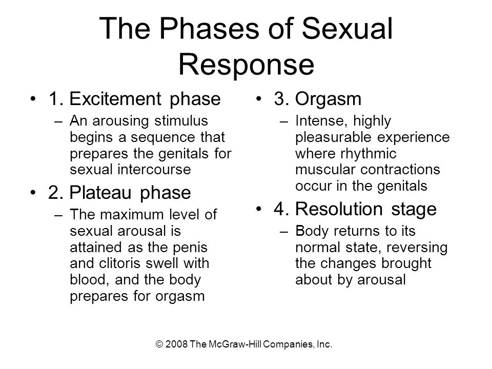 © 2008 The McGraw-Hill Companies, Inc. The Phases of Sexual Response 1.