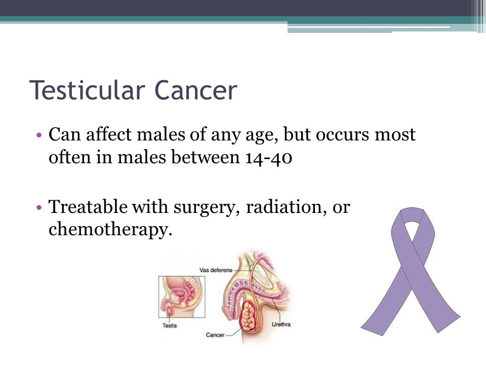 Testicular Cancer Can affect males of any age, but occurs most often in males between 14-40 Treatable with surgery, radiation, or chemotherapy.