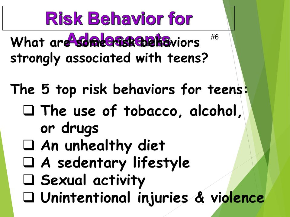 What are some risk behaviors strongly associated with teens.